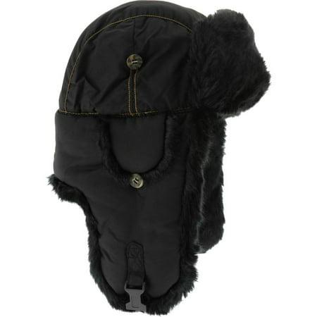 Mad Bomber Original Faux Hat, Black, Medium ()
