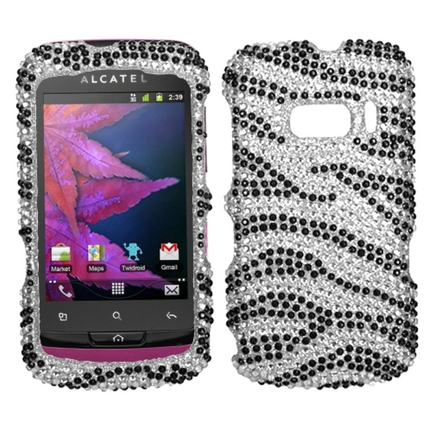 Insten Black Zebra Skin Diamante Case Cover For ALCATEL 918 One Touch