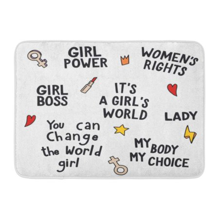 GODPOK Girls Quotes and Illustrations Power Women's Right Boss It's Girl's World Lady My Body Choice You Can Rug Doormat Bath Mat 23.6x15.7