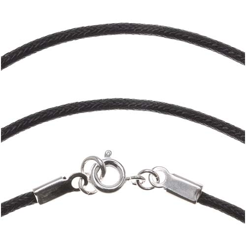 Black Waxed Cotton Necklace With Silver Plated Clasp 1.5mm / 16 Inches