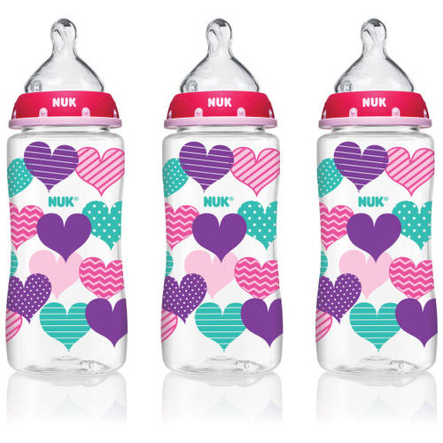 NUK 14073 Hearts Baby Bottle with Perfect Fit Nipple, 10 Ounces, 3 Pack