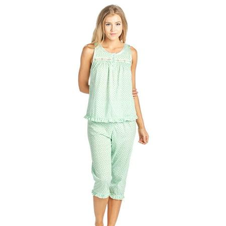 Dot Capri Pajama - Casual Nights Women's Sleeveless Tank Top Capri Pajama Set