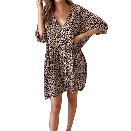Adult Luscious Leopard (Utowu Women Leopard Print Deep V Button Ruffle Dress Casual Sexy Party Cocktail Dress )