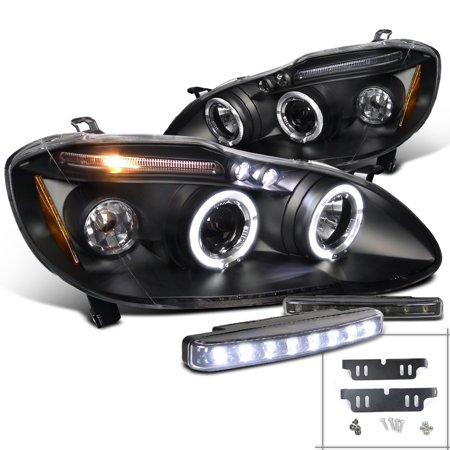 Spec-D Tuning 2003-2008 Toyota Corolla Led Halo Projector Headlights Black + 8-Led Fog Lamps (Left + Right) 03 04 05 06 07 08