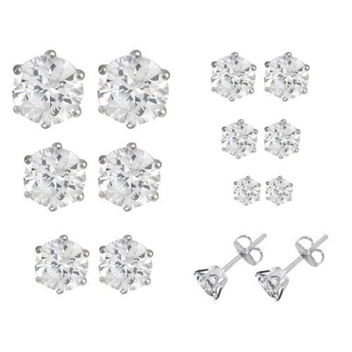 Bundle Monster 6pc Clear Sparkling Circle Mixed Size Crystal Studs Earrings Set