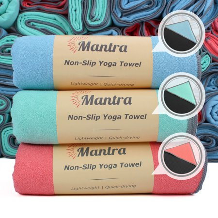 Mantra Yoga Towel Assortment 3-Pack - Non-Slip Hot Yoga Towel with Anchor Fit Corner Pockets - Best Yoga Towel for Pilates, Bikram, Ashtanga, and Hot