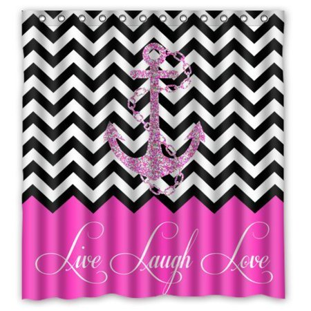 Greendecor Hipster Quotes Live Love Laugh In Pink Colorblock Chevron With Anchor Waterproof Shower Curtain Set