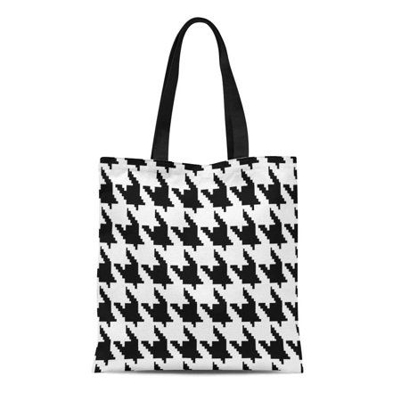 ASHLEIGH Canvas Tote Bag Abstract Hounds Tooth Pattern Black and White Chanel Check Reusable Shoulder Grocery Shopping Bags Handbag