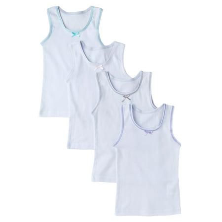 Sportoli Girls and Toddlers Underwear Ultra Soft 100% Cotton Pack of 4 White Tank Top - Halloween Underwear