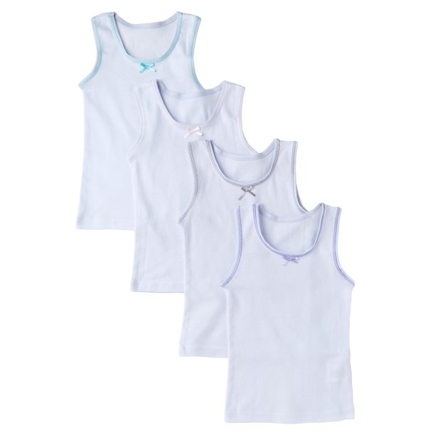 Sportoli Girls and Toddlers Underwear Ultra Soft 100% Cotton Pack of 4 White Tank Top Undershirts