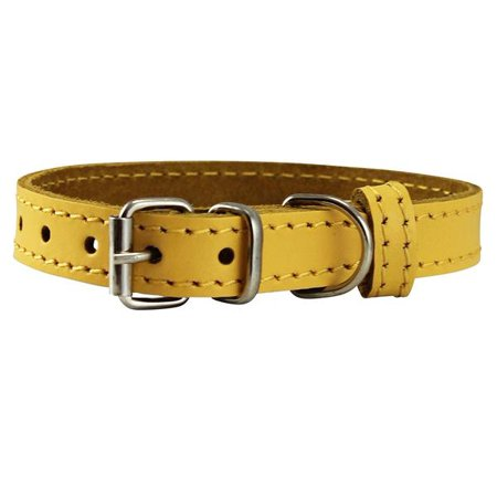 "Genuine Leather Dog Collar Smallest Dogs Puppies 3 Sizes Yellow (Neck: 9.5""-12""; 5/8"" Wide)"