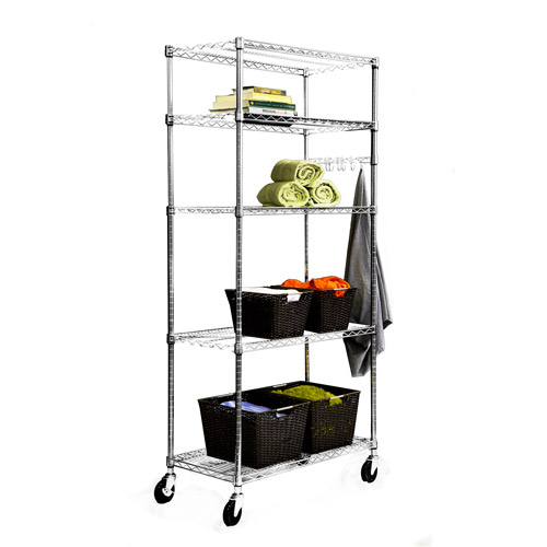 "EcoStorage"" 5-Tier NSF 36"" x 18"" Wire Shelving - Chrome"