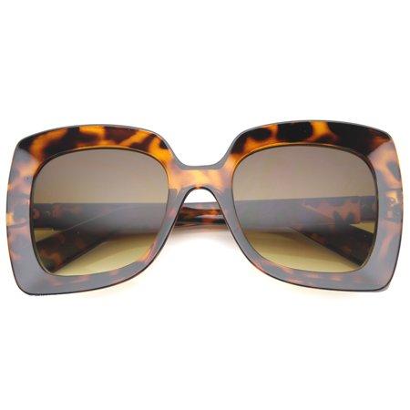 fc8b852bd4c sunglassLA - sunglassLA - Oversize Chunky Frame Metal Accent Temple Square  Sunglasses 53mm (Shiny Tortoise   Amber) - 53mm - Walmart.com