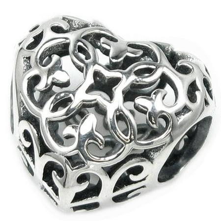 Flower Pandora Charm - Queenberry 925 Sterling Silver Ethnic Flower Love Heart Filigree Charm Fits Pandora European Charm Bracelets