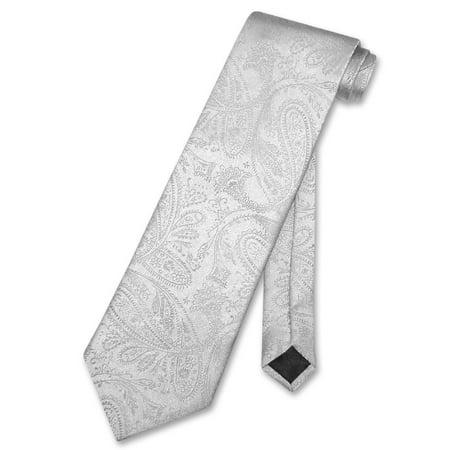 Color Paisley Necktie - Vesuvio Napoli NeckTie SILVER GREY Color Paisley Design Men's Gray Neck Tie