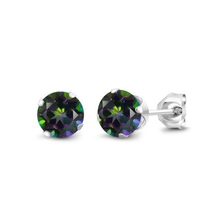 Mystic Topaz Earrings 925 Sterling Silver 6mm Green 2.00 Ct -