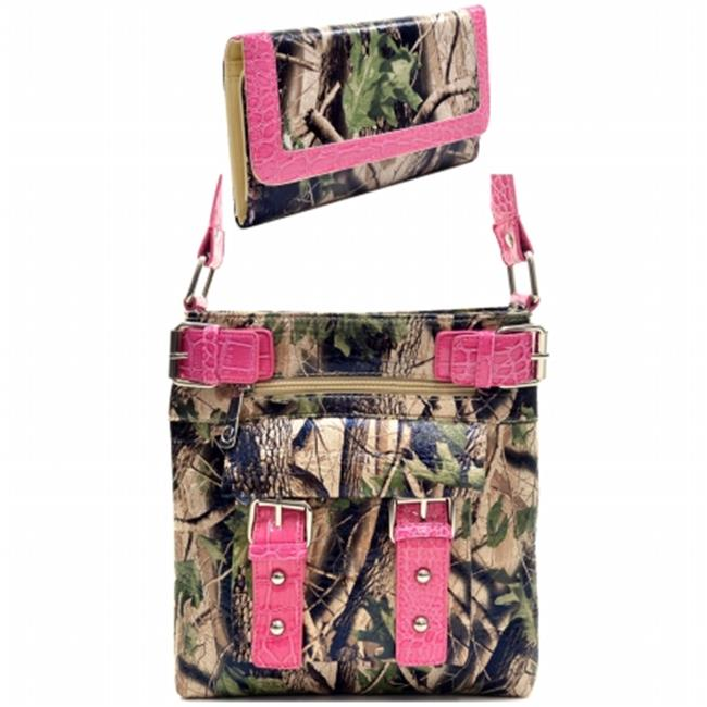 Ritz Enterprises MS100SET-PK-CAM Western Camouflage Crossbody Messenger Bag Purse With Matching Wallet - Pink & Camo