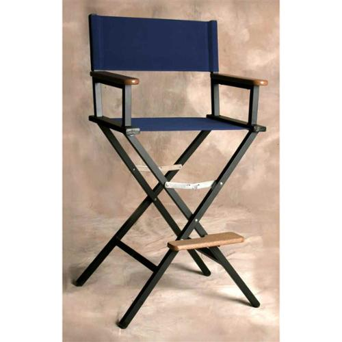 Folding Director Style Bar Chair w Fabric Seat in Marine Blue