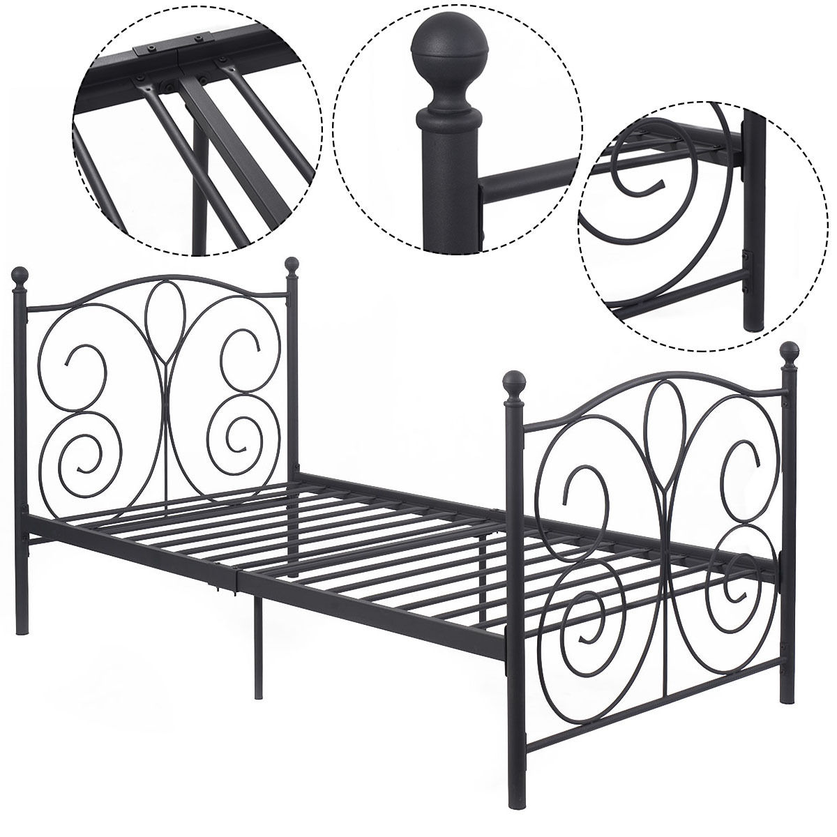 Costway Black Steel Twin Size Bed Frame Platform Foundation Furniture (83''x43''x42'') by Costway