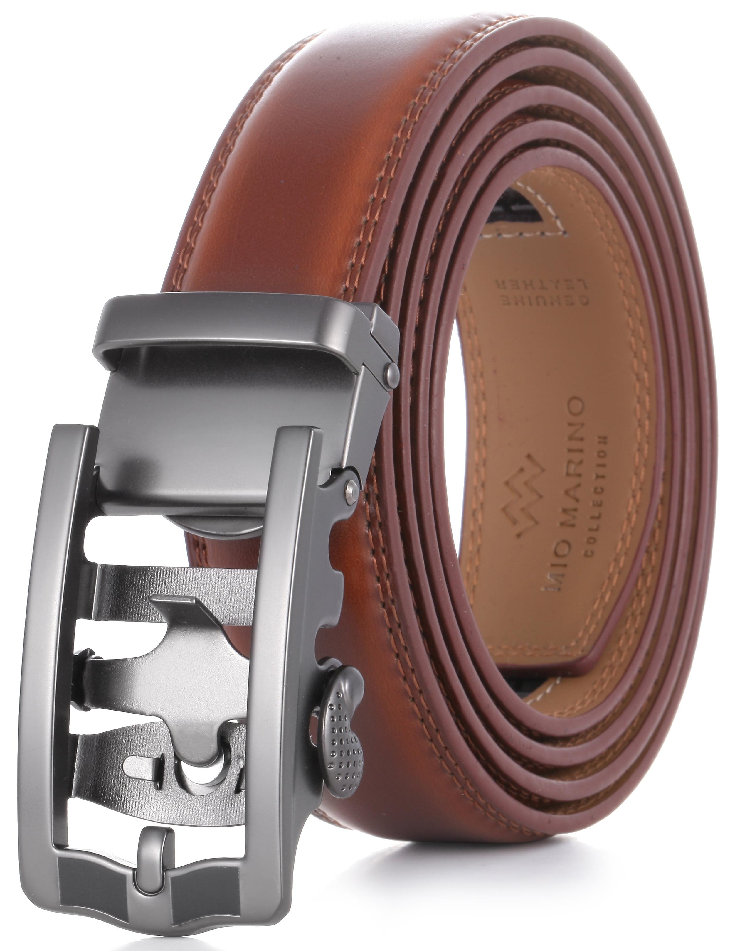 Mio Marino Classic RatchetBelt Premium Leather 1.38 Wide Adjustable Buckle Fre