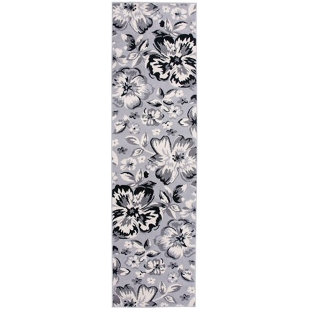 Modern Floral Circles Gray 2' X 7' 2
