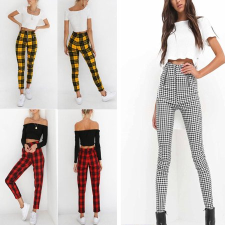 New Women ladies High Waisted Plaid Pants 2019 Spring Autumn Elegant Ladies fashion Skinny Trousers For Woman Casual Plaid Stretchy Soft Pencil