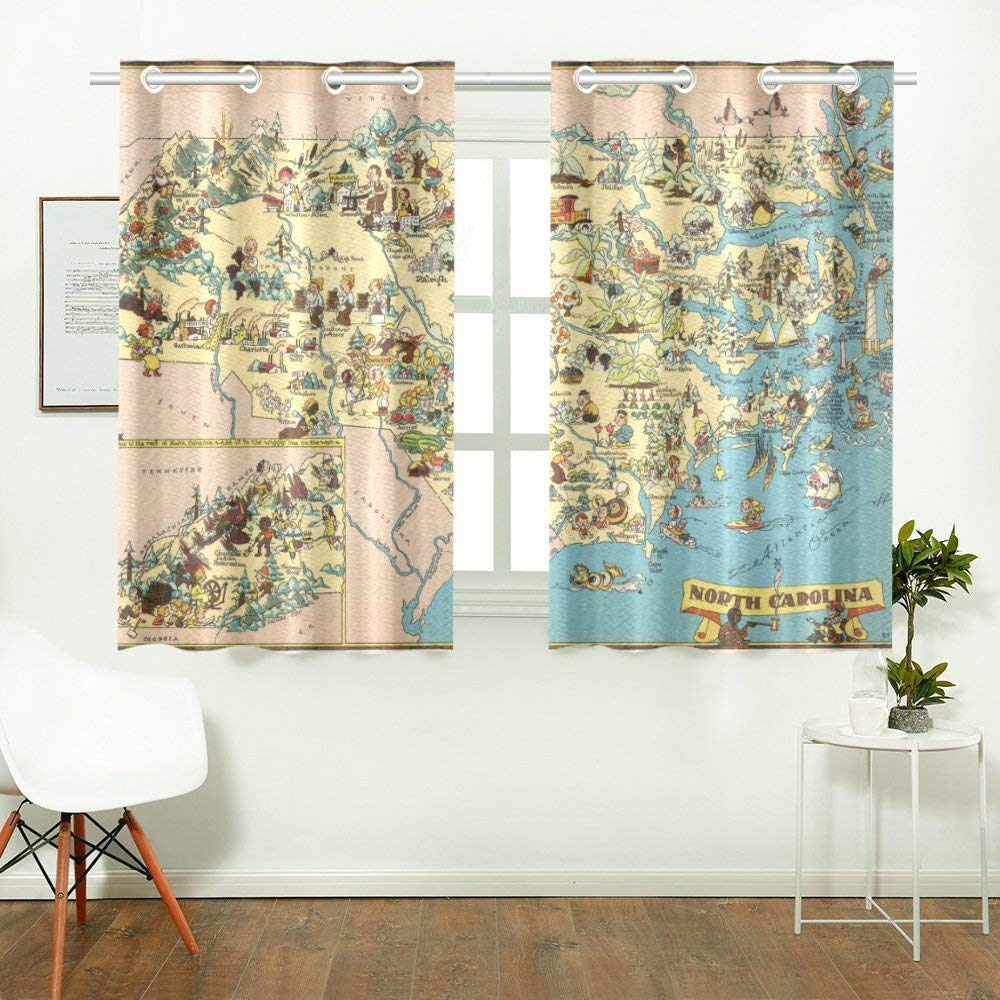 CADecor Vintage 1935 North Carolina State Map Window Treatment Panel Curtains Window Curtain Kitchen Curtain,Two Piece 26x39 Inces