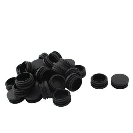 Furniture Cabinet Plastic Flat Base Round Tube Pipe Inserts Black 40mm Dia 30pcs - image 1 de 1