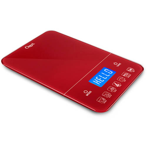 Ozeri Touch III 22-Pound Digital Kitchen Scale with Calorie Counter, Red Engine