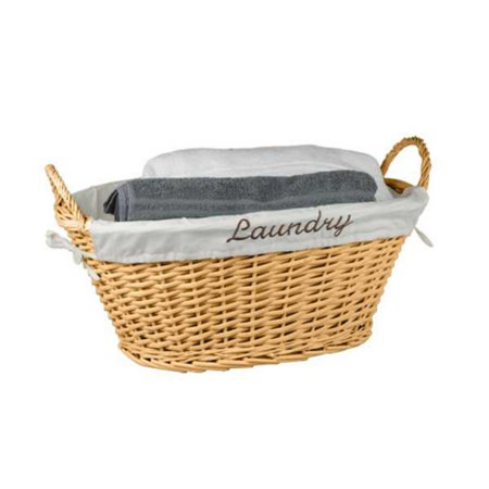 Brown Oval Basket - Home Basics Laundry Basket, Natural