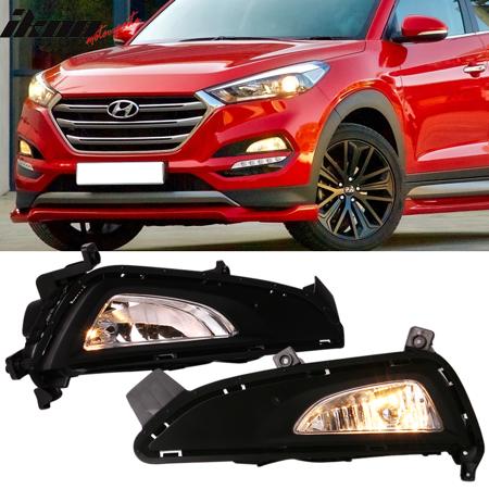 - Fits 16-18 Hyundai Tucson OE Style Foglights Kit ABS Black Housing Clear Lens
