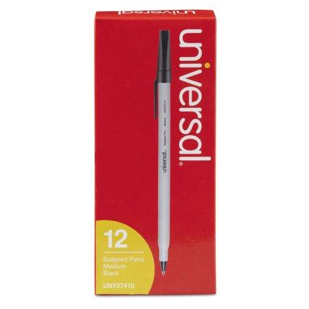 Stick Ballpoint Pen, Medium 1mm, Black Ink, Gray Barrel, - Barrel Stick Pen