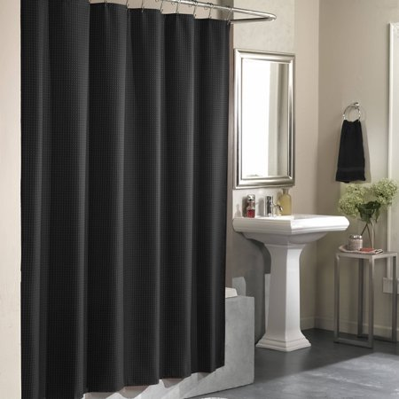 checkerboard fabric shower curtain black