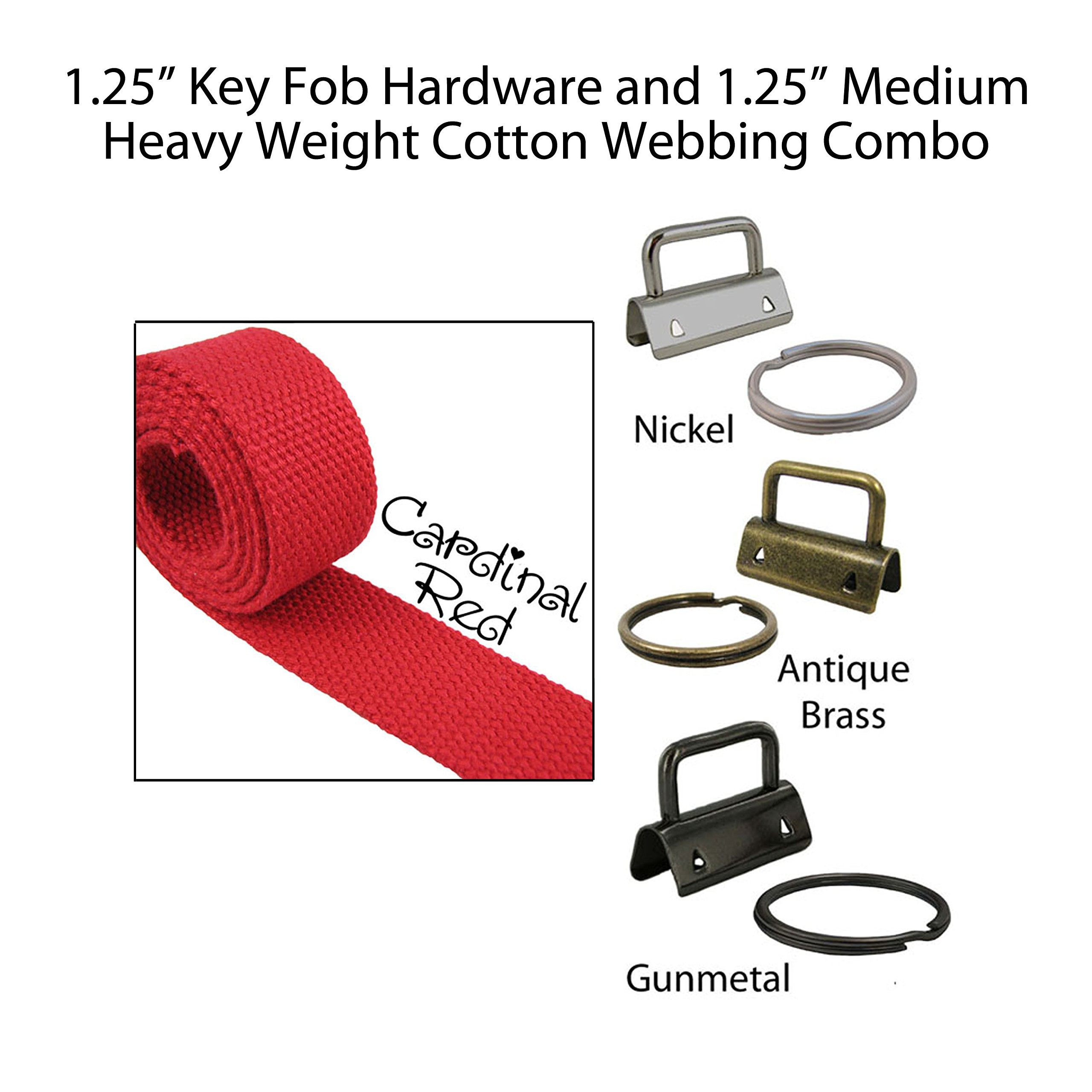 """1.25"""" Key Fob Hardware and 1.25"""" Cotton Webbing Combo - Cardinal Red"""