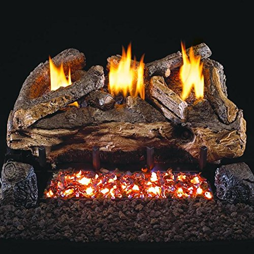 Peterson Real Fyre 24-inch Evening Fyre Split Log Set With Vent-free Natural Gas Ansi Certified G18 Burner - Variable Flame Remote