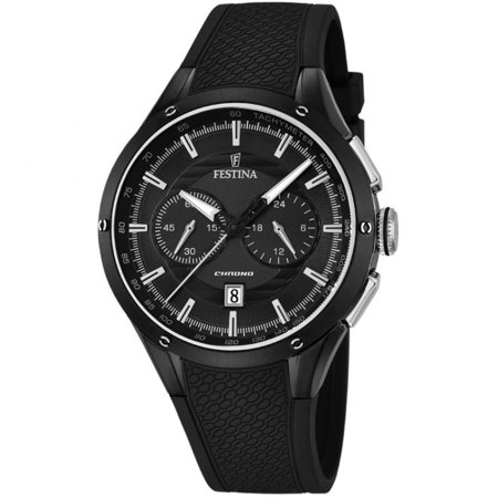 Festina Watches Women (FESTINA F168321 Men's Black Rubber Band With Black Analog Dial Watch New In Box)