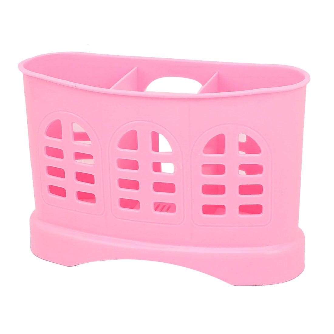 Kitchen Plastic 3 Compartments Spoon Fork Chopsticks Basket Organizer Pink