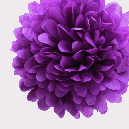 Quasimoon 20'' Plum Tissue Paper Pom Poms Flowers Balls, Decorations (4 Pack) by PaperLanternStore