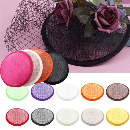 Obstce Women Sinamay Cocktail Hat Fascinator Round Base Millinery DIY Craft Accessory (Top Hat Fascinators)