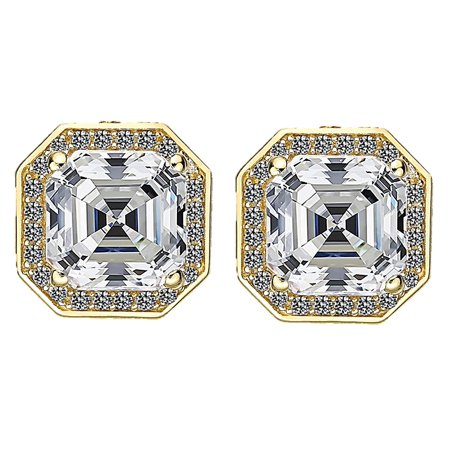 Asscher Cut Halo Earrings in Sterling Silver with a 14k Post-6.0mm-Yellow gold plated