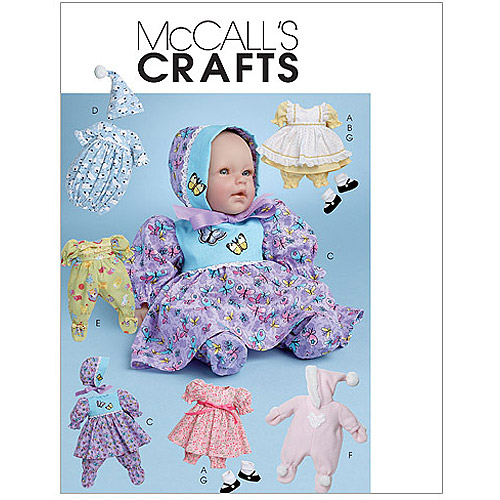 McCall's Baby Doll Clothes For Dolls 11, 13, 14 and 16, All Sizes in 1 Envelope