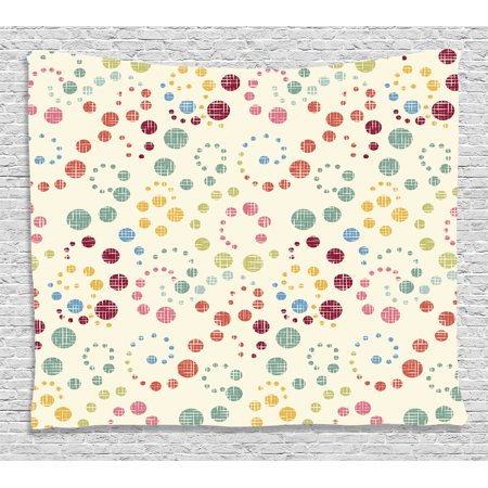 Art Deco Backdrop (Modern Art Home Decor Tapestry, Grunge Polka Dots Spots Backdrop Motif Retro Nostalgic Aesthetic Image, Wall Hanging for Bedroom Living Room Dorm Decor, 60W X 40L Inches, Multi, by)