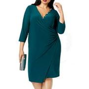 Womens Dress Plus Shift Embellished V-Neck 3/4 Sleeve 2X