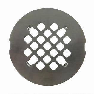"Satin Nickel Round Shower Drain Grate 4 1/4"" Replacement Cover - No Tools Required"