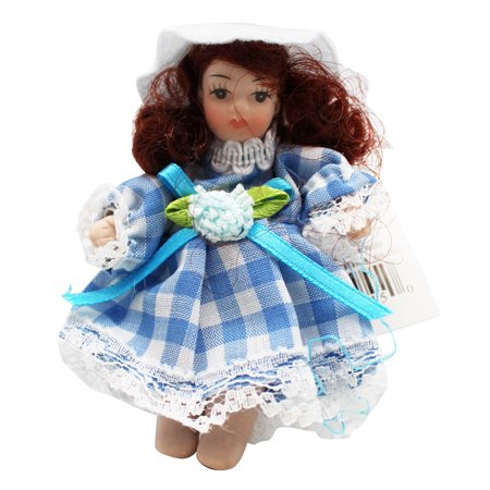 Miniature Porcelain Doll With Blue Dress and Brown Hair - By Ganz (Porcelain Doll Halloween)