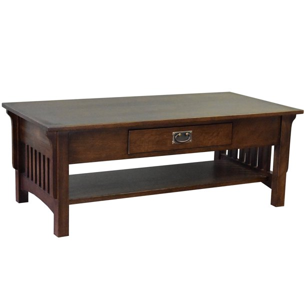 Crafters And Weavers Mission Crofter Style 1 Drawer Coffee Table Walnut Stain Walmart Com Walmart Com