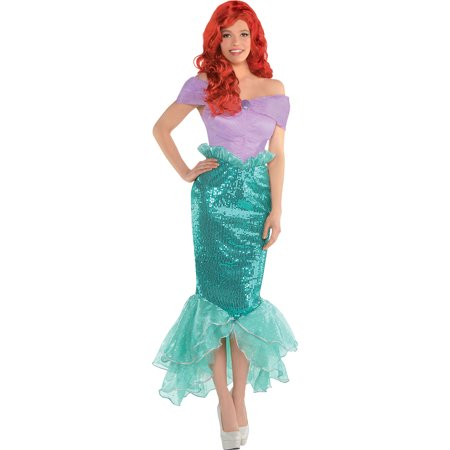 Little Mermaid Dresses For Adults (Costumes USA The Little Mermaid Ariel Costume for Adults, Includes a Dress with a Fitted Sequin)