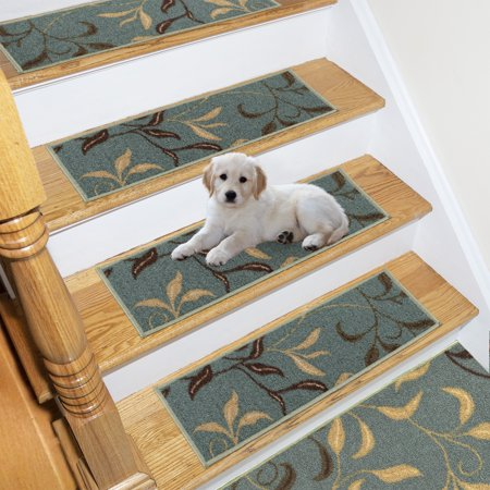 Ottomanson Ottohome Collection Patterned Rubber Back Pet-Friendly Stair Treads