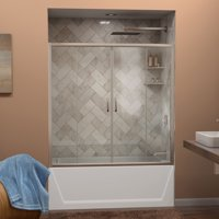 DreamLine Visions 56-60 in. W x 58 in. H Semi-Frameless Sliding Tub Door in Brushed Nickel