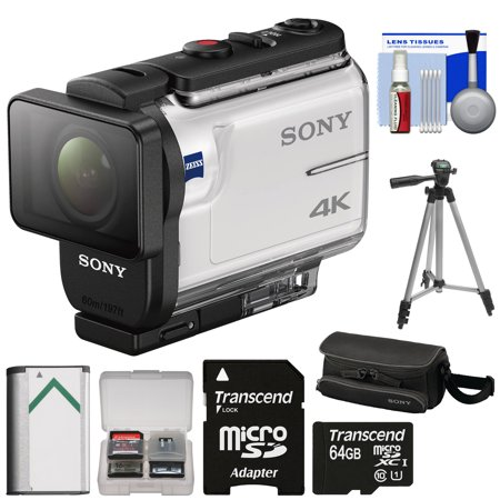 Sony Action Cam FDR-X3000 Wi-Fi GPS 4K HD Video Camera Camcorder with 64GB Card + Battery + Case + Tripod + Kit ()